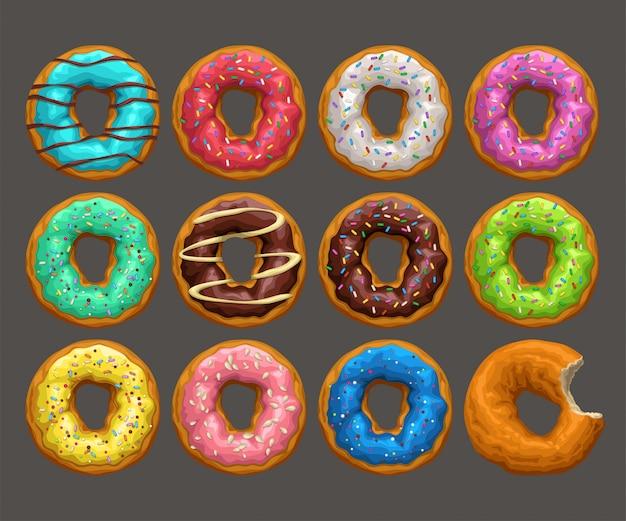 Grote donuts gezet op donker Premium Vector