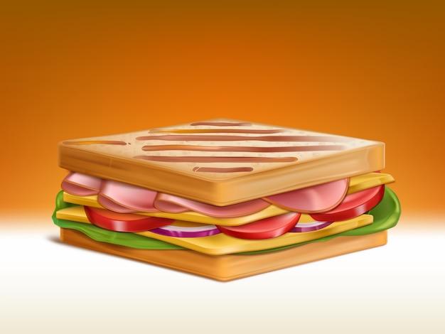 Grote dubbele sandwich met twee stukjes geroosterd tarwebrood, plakjes ham en cheddar kaas stukjes, tomaat en ui plakjes en verse salade bladeren 3d-realistische vector. voedzaam ontbijt illustratie Gratis Vector