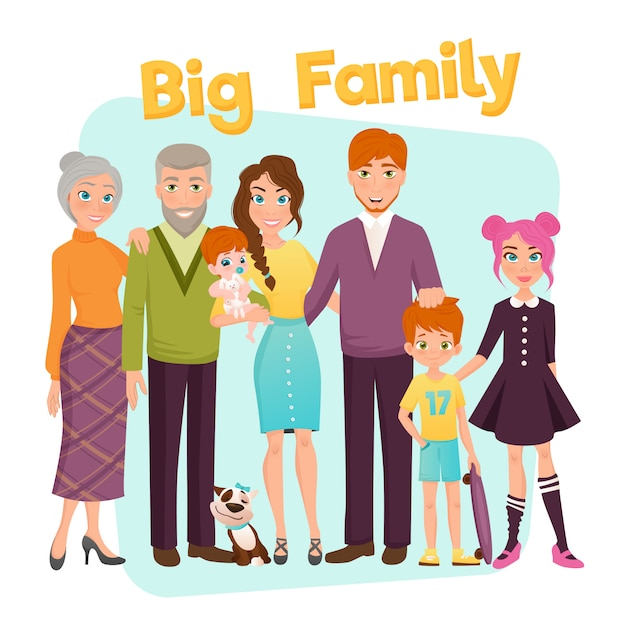 Grote en gelukkige familie illustratie Gratis Vector