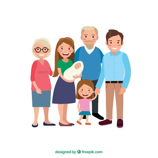 Grote en gelukkige familie met een plat ontwerp Gratis Vector