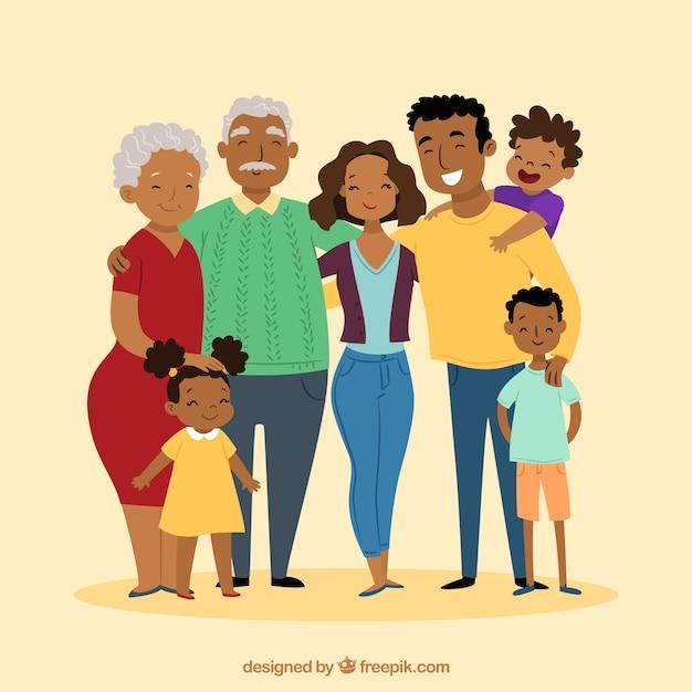 Grote en gelukkige familie met hand getrokken stijl Premium Vector