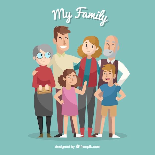 Grote en gelukkige familie met hand getrokken stijl Gratis Vector