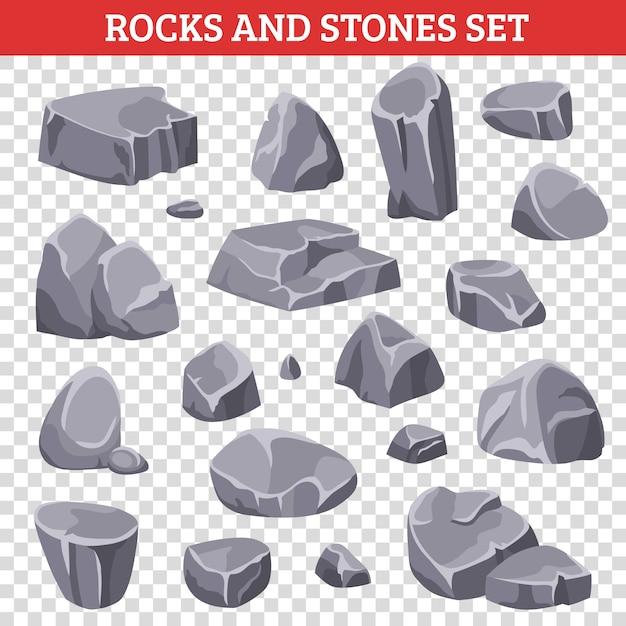 Grote en kleine grijze rotsen en stenen Gratis Vector