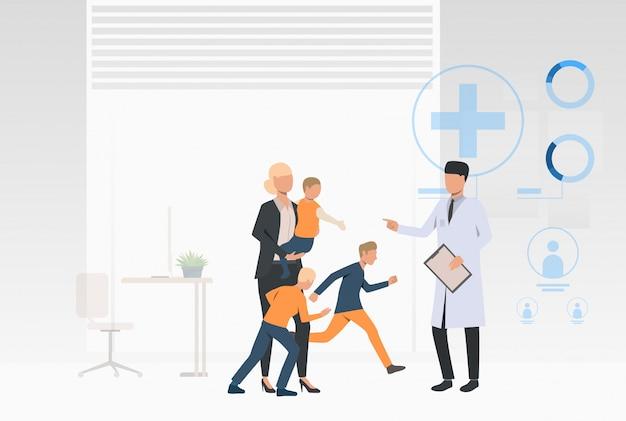 Grote familie bezoekende arts Gratis Vector