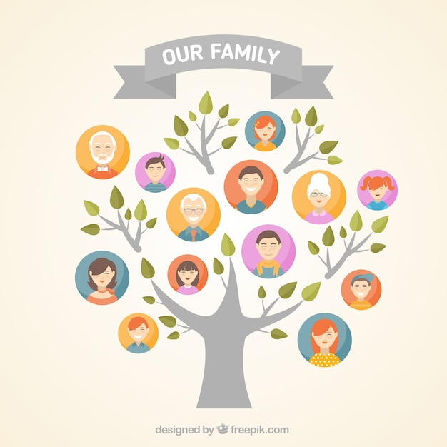 Grote familie boom in plat design Gratis Vector