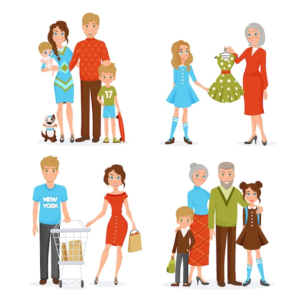 Grote familie icons set Gratis Vector