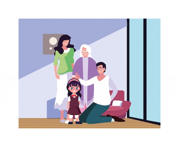 Grote familie samen in woonkamer, drie generaties Premium Vector