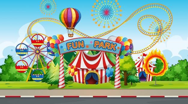 Grote funparkachtergrond Gratis Vector