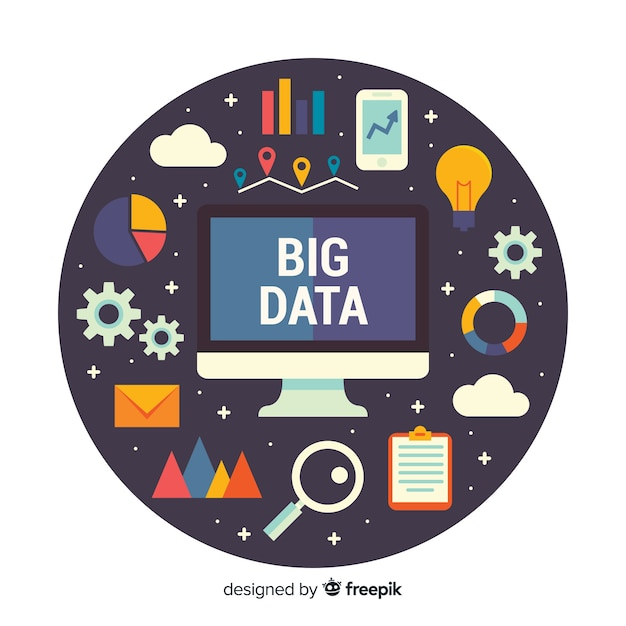 Grote gegevens computer achtergrond Gratis Vector