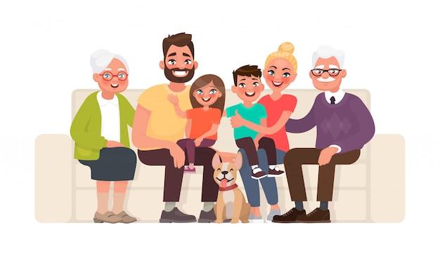 Grote gelukkige familiezitting op de bank. grootmoeder, grootvader, vader, moeder, kinderen en huisdieren Premium Vector