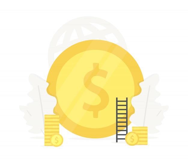 Grote gouden munt illustratie. investering in bedrijfspresentaties voor startups Premium Vector