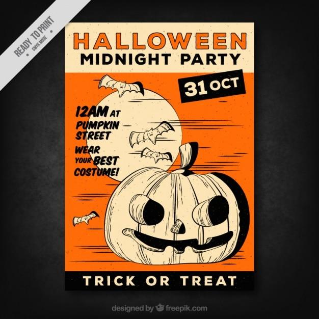 Pompoen En Halloween.Grote Halloween Flyer Met Een Pompoen En Vleermuizen Vector