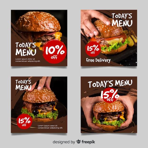 Grote hamburgers instagram post collectie Premium Vector