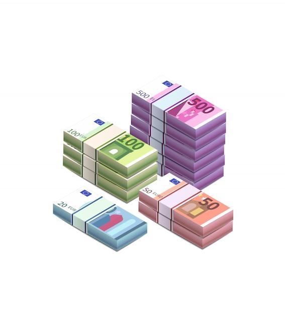 Grote hoop van verschillende eurobankbiljetten in stapels in isometrische weergave op wit Premium Vector