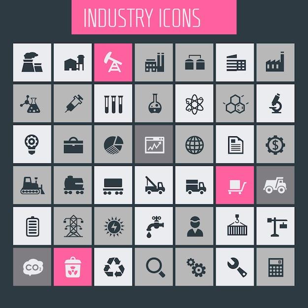 Grote industrie icon set, trendy iconen collectie Premium Vector