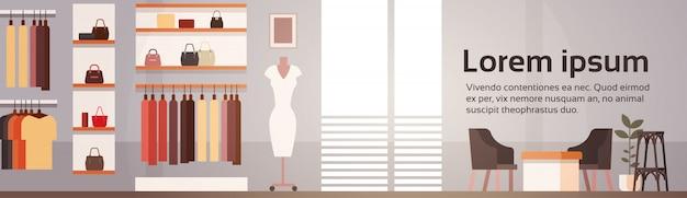 Grote mode winkel super markt vrouwelijke kleding winkelcentrum binnenlandse banner met kopie ruimte Premium Vector