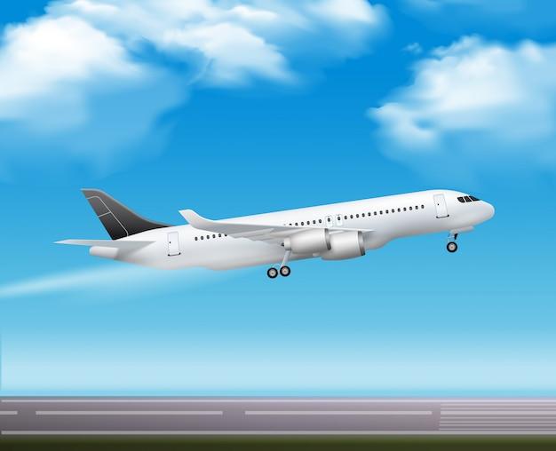 Grote moderne passagiersvliegtuigstraal Gratis Vector