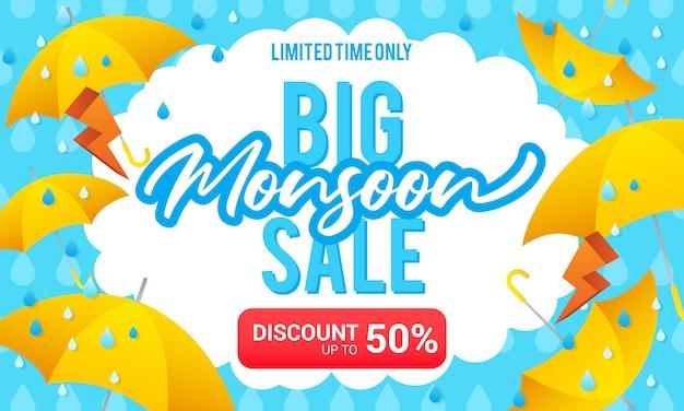 Grote moesson verkoop illustratie Premium Vector