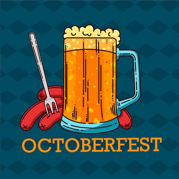 Grote mok bier en worstjes. oktoberfest. cartoonachtige stijl. vector illustratie Premium Vector