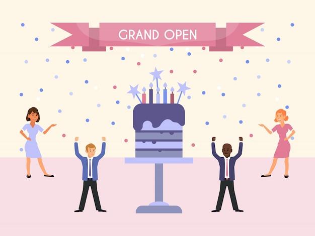 Grote open feestmensen en cake. mensen vieren werk collectief, staande in de buurt van een grote taart. zakelijk evenement voor evenementenorganisaties Premium Vector