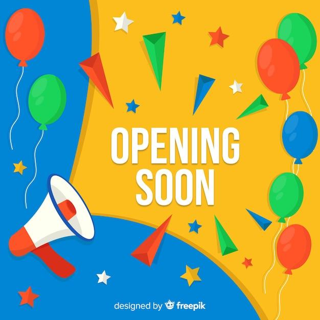 Grote opening binnenkort, aankondigingsontwerp Gratis Vector