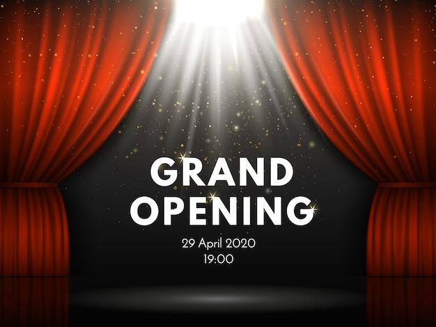 Grote openingsshowaffiche met rode gordijnen bij acteren van het theaterstadium. Premium Vector