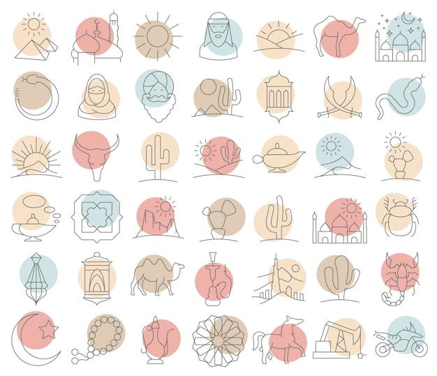 Grote reeks arabische en verlaten pictogrammen in lineaire stijl. Premium Vector