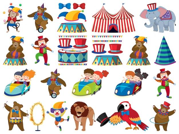 Grote reeks geïsoleerde objecten van kinderen en circus Premium Vector