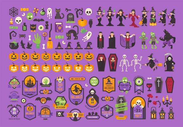 Grote reeks halloween-elementen en karakters Premium Vector