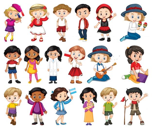 Grote reeks jongens en meisjes die verschillende activiteit op witte achtergrond doen Gratis Vector