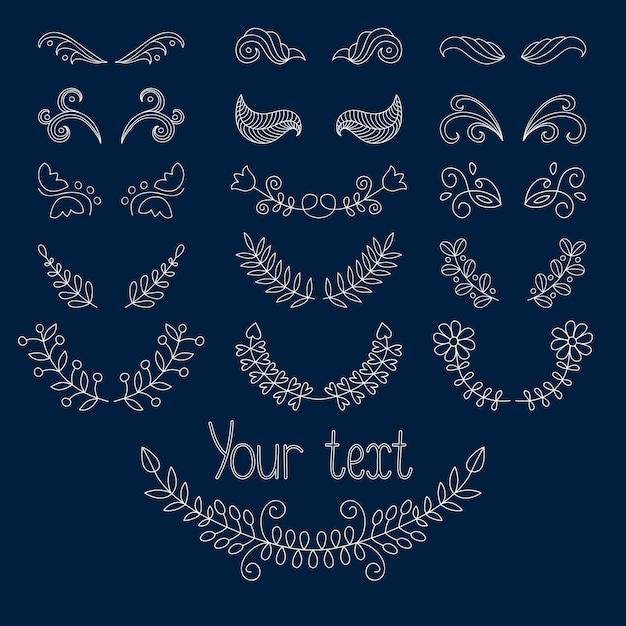 Grote reeks kalligrafische ontwerpelementen en pagina-decoratie Premium Vector