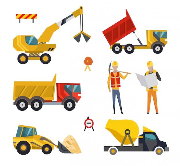 Grote reeks machines van bouwmachines. speciale machines voor de bouw Premium Vector