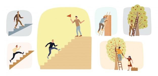 Grote reeks mannen traplopen. boeren die ladders gebruiken om fruitoogst te verzamelen. ambities waarmaken. Premium Vector