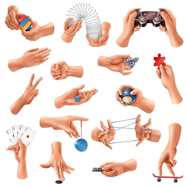 Grote reeks realistische pictogrammen met menselijke handen die verschillende spelen spelen die op wit worden geïsoleerd Gratis Vector