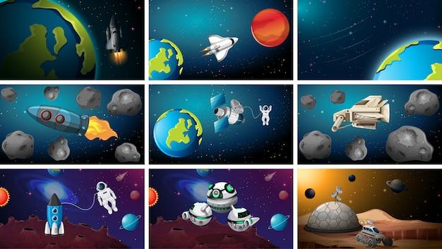 Grote reeks ruimtescène of achtergronden Gratis Vector