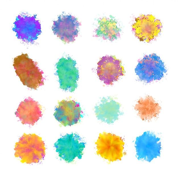 Grote reeks van aquarel vlek splatter textuur ontwerp Gratis Vector