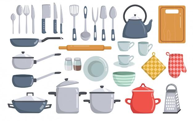 Grote reeks van vector de elementenbeeldverhaal van keukengereedschap Premium Vector