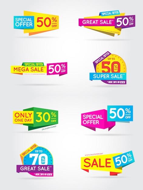 Grote reeks van verkoop teken banners Premium Vector