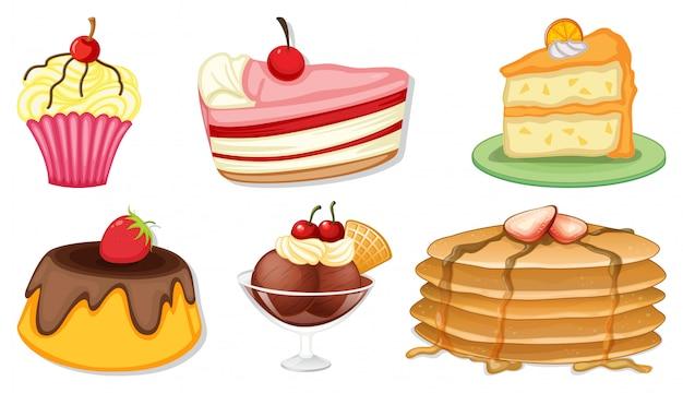 Grote reeks van verschillende menu voor desserts op witte achtergrond Gratis Vector