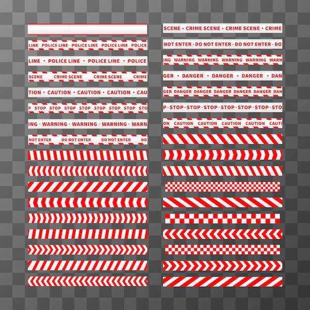Grote reeks verschillende naadloze rode en witte voorzichtigheidsbanden Premium Vector