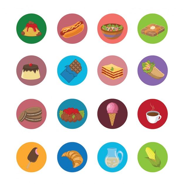 Grote reeks voedselpictogrammen Premium Vector