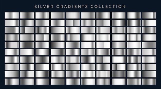 Grote reeks zilveren of platinagradiënten Gratis Vector