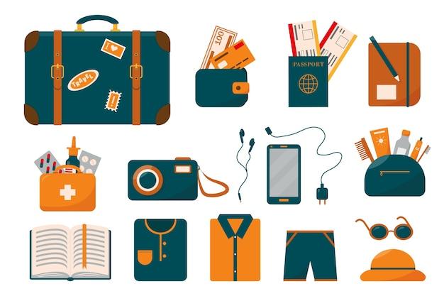 Grote reisset of bagagecollectie met koffer en spullen voor op vakantie. Premium Vector