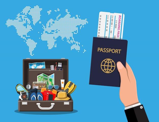 Grote reisset. zomervakantie, toerisme, vakantie Premium Vector