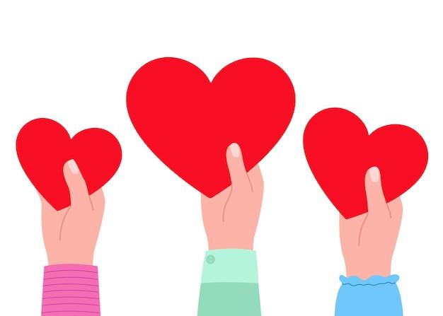 Grote rode harten in handen als symbool van liefdeillustratie Premium Vector