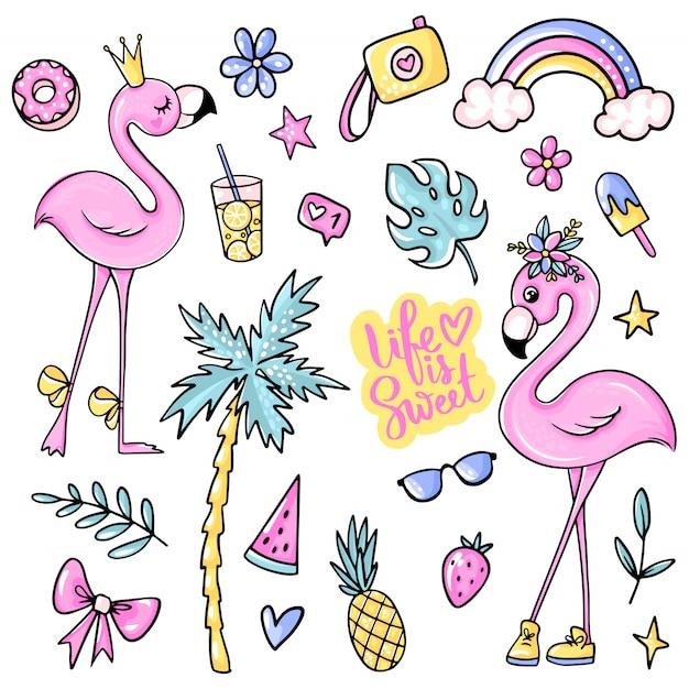 Grote schattige zomerstickers set met flamingo's, ijs, watermeloen, ananas, regenboog, limonade, kers. Premium Vector
