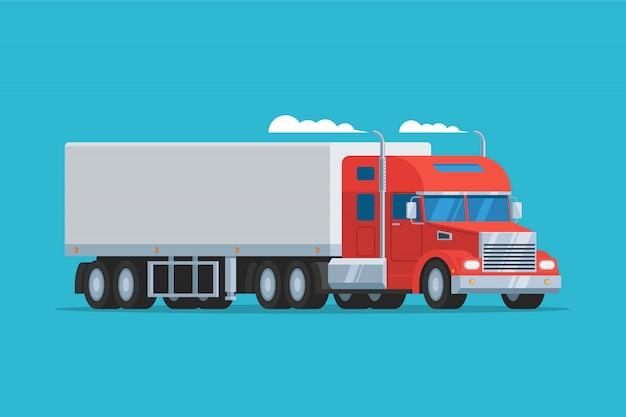 Grote semi-vrachtwagen Premium Vector