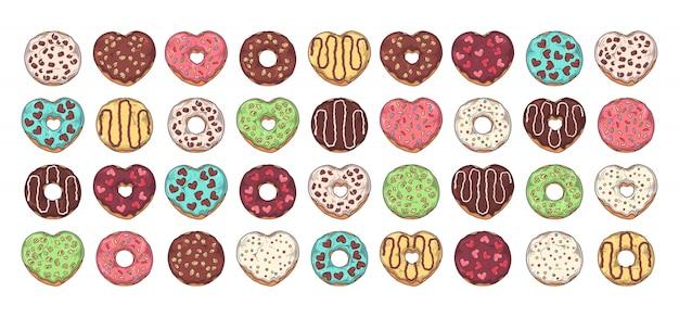 Grote set geglazuurde donuts versierd met toppings, chocolade, noten. Premium Vector