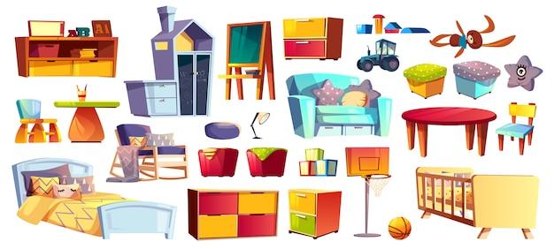 Grote set van houten meubels, zacht speelgoed en accessoires voor kinderkamer, slaapkamer cartoon Gratis Vector