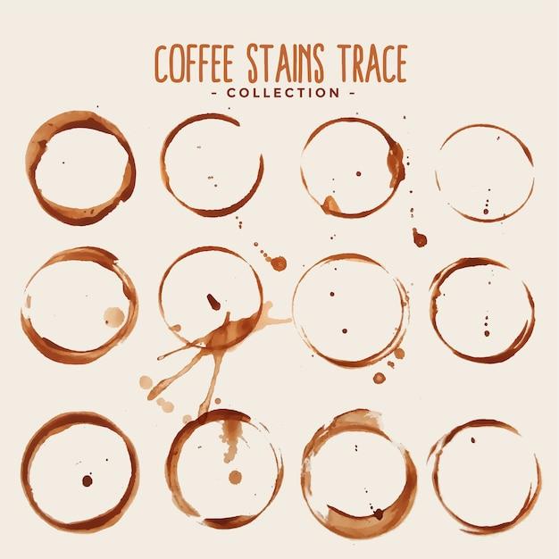 Grote set van koffie vlek trace textuur Gratis Vector